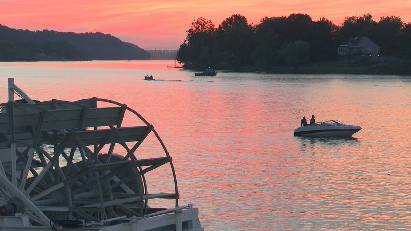 Boats were silhouettes against the glowing orange sunset Saturday evening.