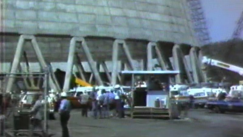 The scene at the construction site of the Pleasants Power Station, shot by WTAP's cameras April...