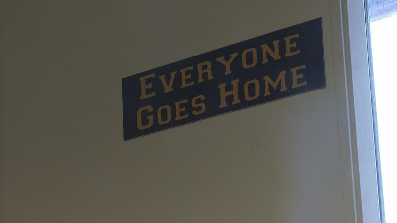 Officers tap this sign when they leave the Sheriff's Office to go on a call