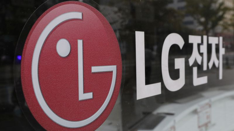 FILE - This Oct. 26, 2017 file photo shows the corporate logo of LG Electronics in Goyang,...
