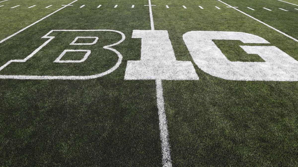 The Big Ten logo is seen on the field before an NCAA college football game between Iowa and Miami of Ohio, Saturday, Aug. 31, 2019, in Iowa City, Iowa.  The Big Ten announced on Aug. 11 it was postponing its fall football season because of concerns about playing during the COVID-19 pandemic.