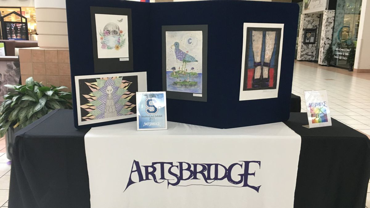 Artwork by Parkersburg South High School students on display at Grand Central Mall.