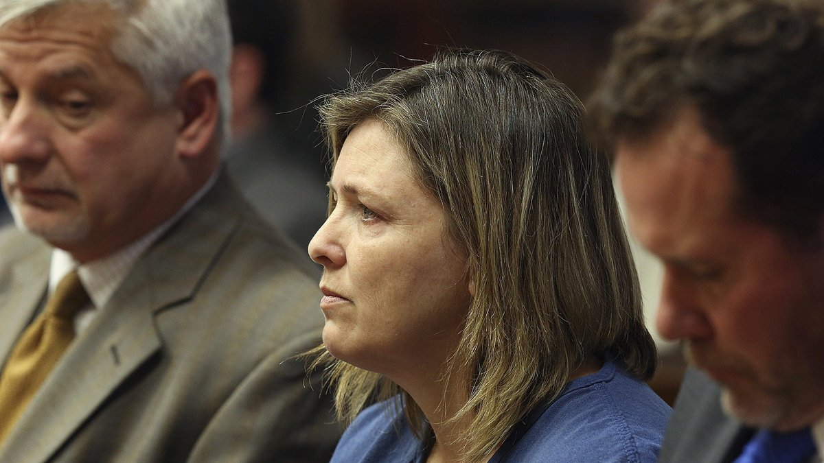 FILE - Angela Wagner sits next to her lawyers in the Pike County Common Pleas Court for her...