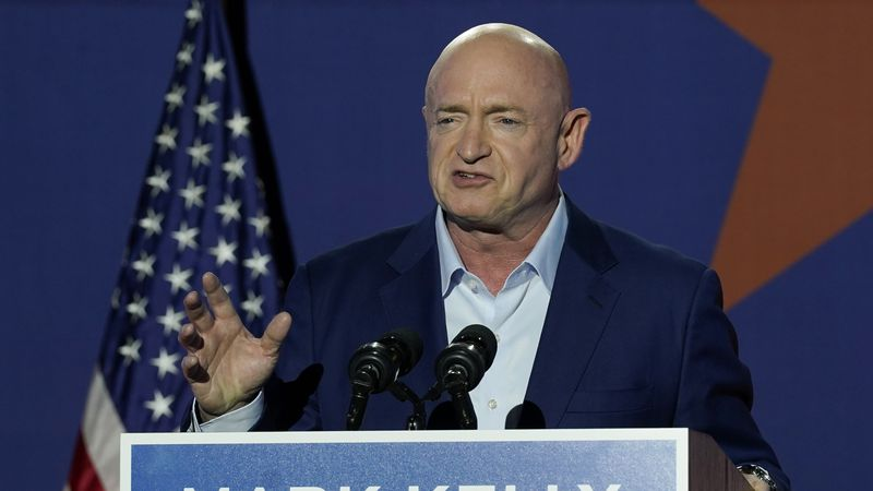 Mark Kelly, Arizona Democratic candidate for U.S. Senate, speaks at an election night event...