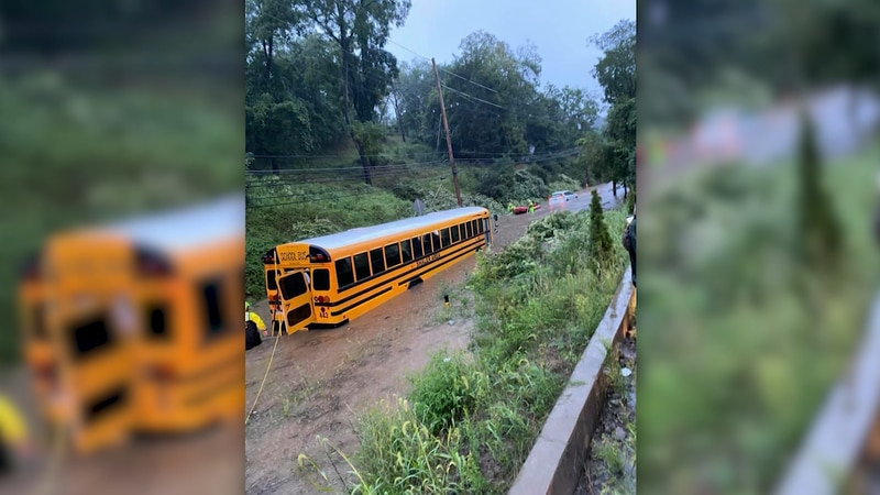 Pennsylvania students were rescued out of a school bus caught in a flash flood.