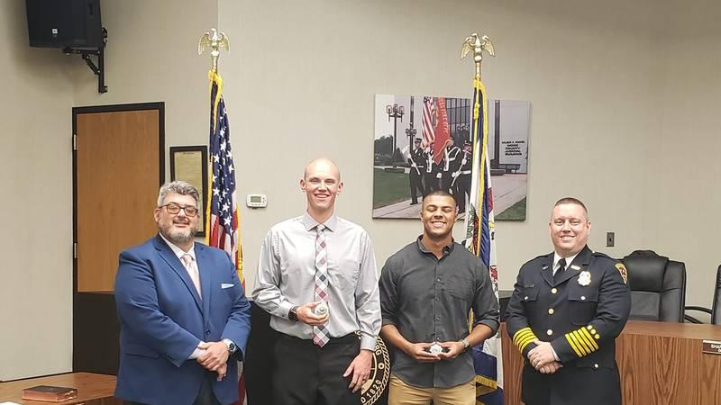 Mayor Tom Joyce, Patrick Smith, Marcus Moore, Fire Chief Jason Matthews