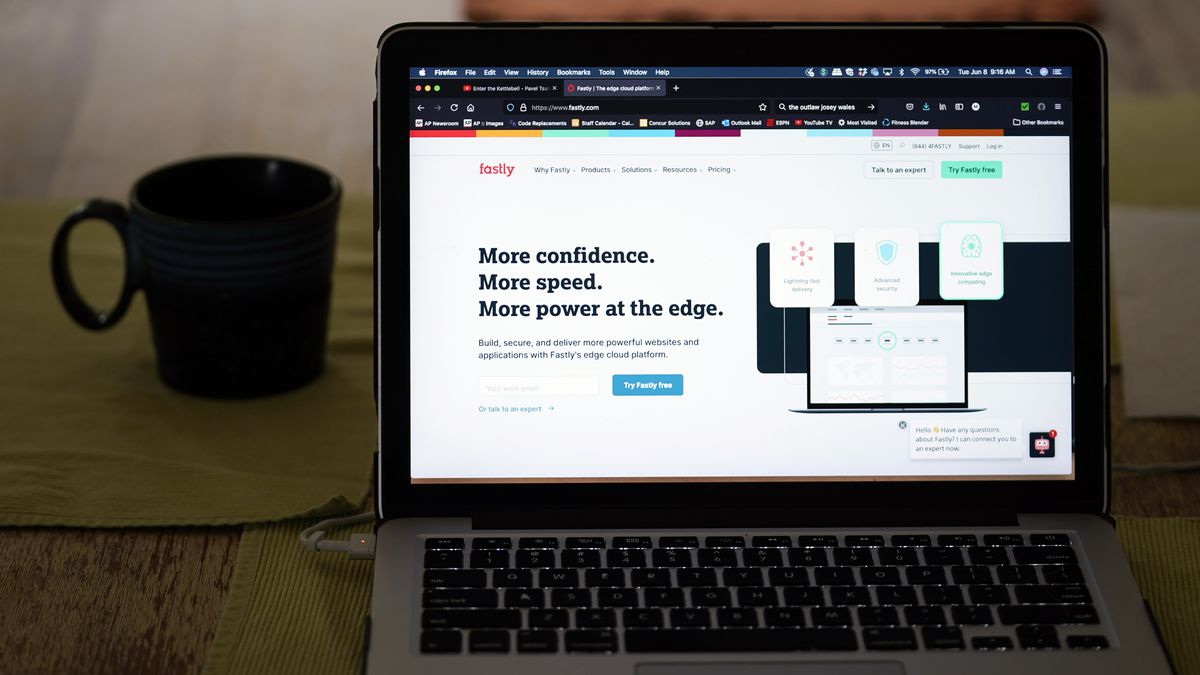 The Fastly home page is seen on Tuesday, June 8, 2021, in Los Angeles.