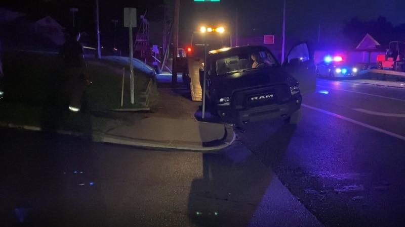 """Suspected injuries"" following pickup crash."