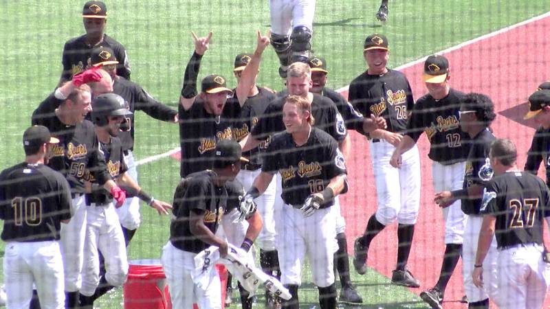 The team celebrates after a win during the 2019 season.