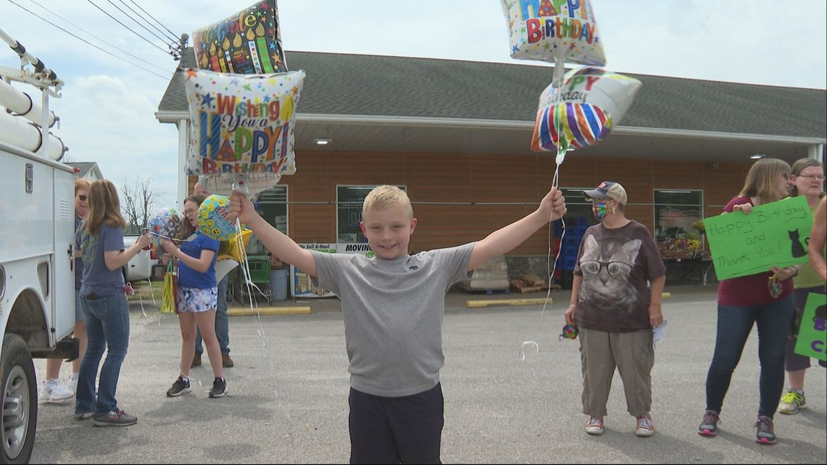 A suprise parade is held for Cameron who raised over 600 dollars for local organization.