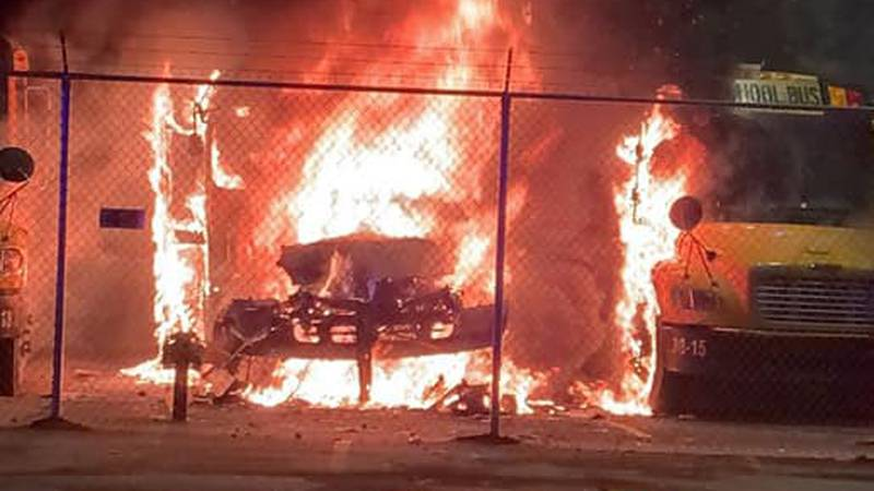 The Ripley Volunteer Fire Department says the call came in around 1:30 a.m. about a bus on fire...