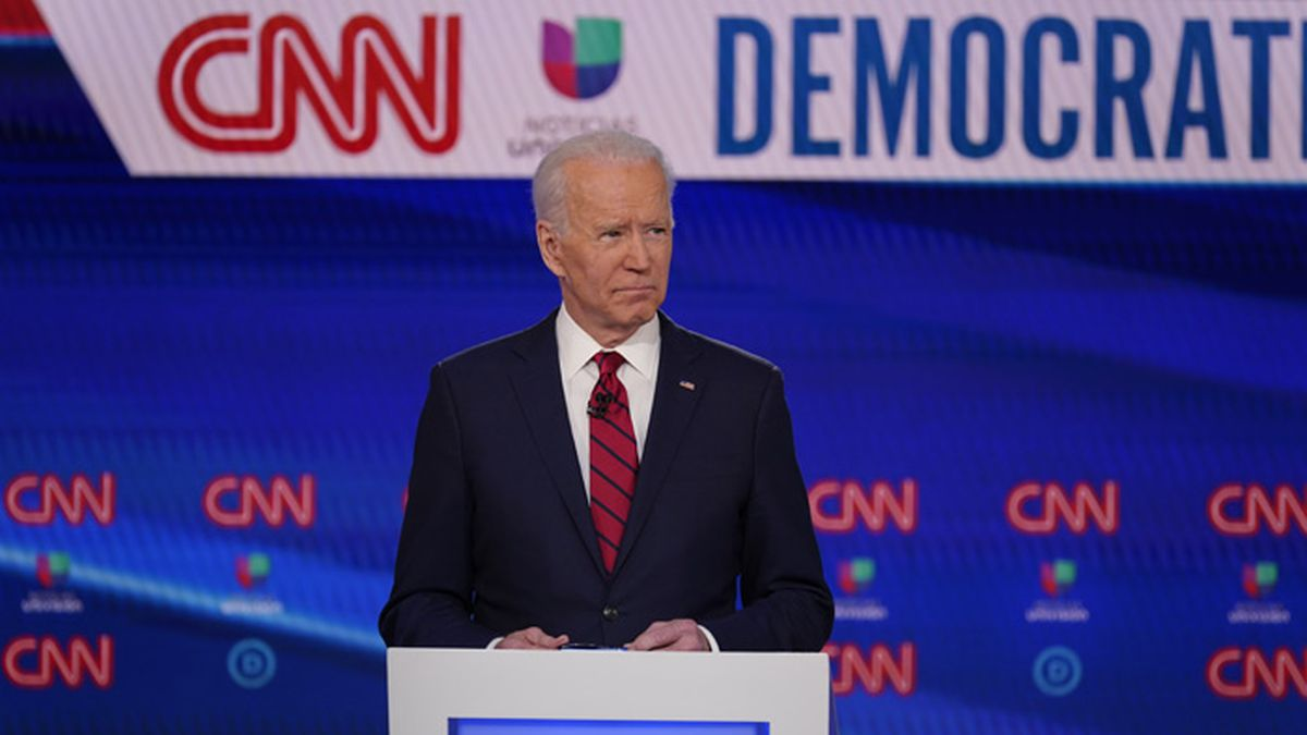 Former Vice President Joe Biden participates in a Democratic presidential primary debate at CNN Studios, Sunday, March 15, 2020, in Washington. (AP Photo/Evan Vucci)