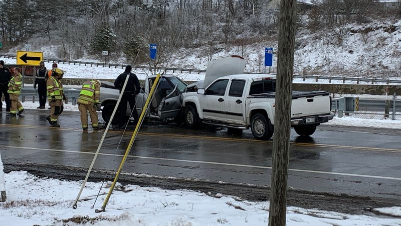 Two people were taken to the hospital Tuesday morning after two pickup trucks were involved in...