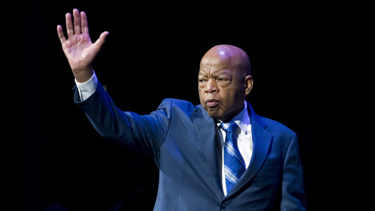 FILE - This Jan. 3, 2019 file photo shows Rep. John Lewis, D-Ga., during a swearing-in ceremony of Congressional Black Caucus members of the 116th Congress in Washington.