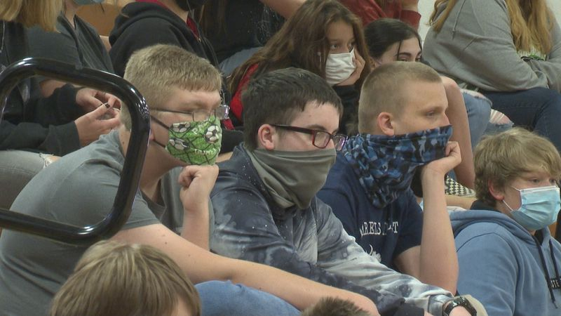 Students attended an assembly through which the Southeastern Ohio Port Authority hoped to peak...