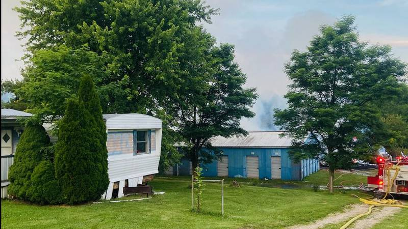 Storage building catches on fire on Williamstown Pike.
