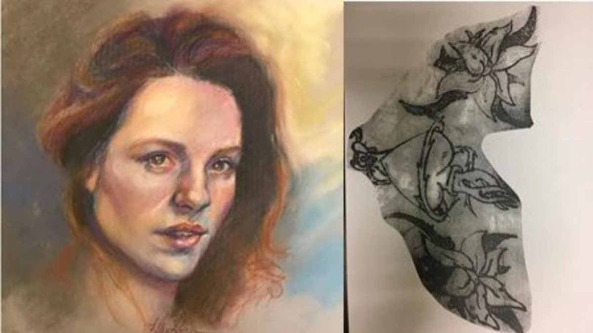 Forensic Statch artist image of the woman found, and a tattoo on the body (Courtesy: Georgia...