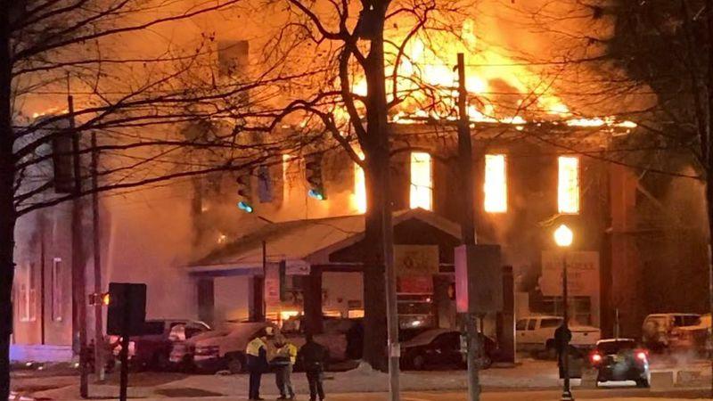 Fire on Third Street in Marietta