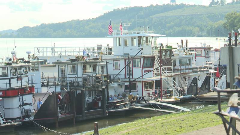 Over 12 sternwheelers lined the water front for the opening ceremony.
