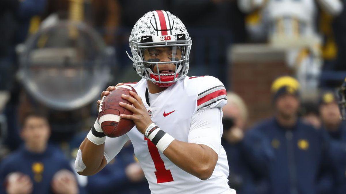 Ohio State quarterback Justin Fields declares for NFL Draft. (AP Photo/Paul Sancya)