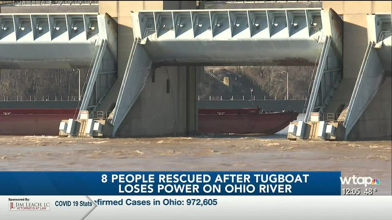 WTAP News @ Noon - Eight people rescued after tugboat loses power on Ohio River
