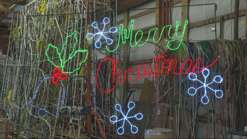 Light display made by Belpre Holiday Lights Committee