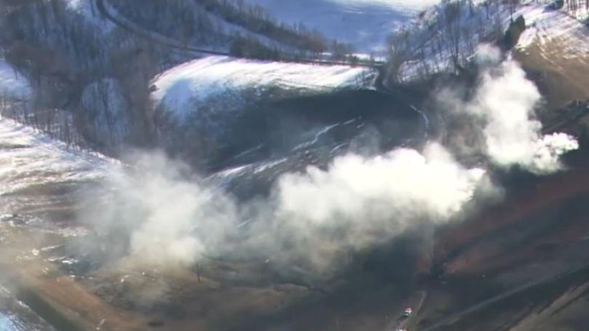 Firefighters extinguish the natural gas pipeline fire in Noble Co., Ohio on Jan. 21, 2019.