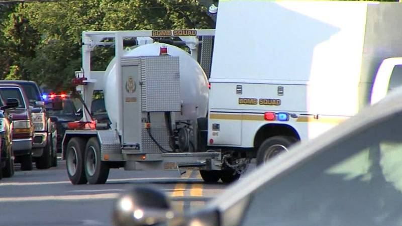 A bomb squad vehicle responds to the scene of a man's home in Middletown, Pennsylvania, on...