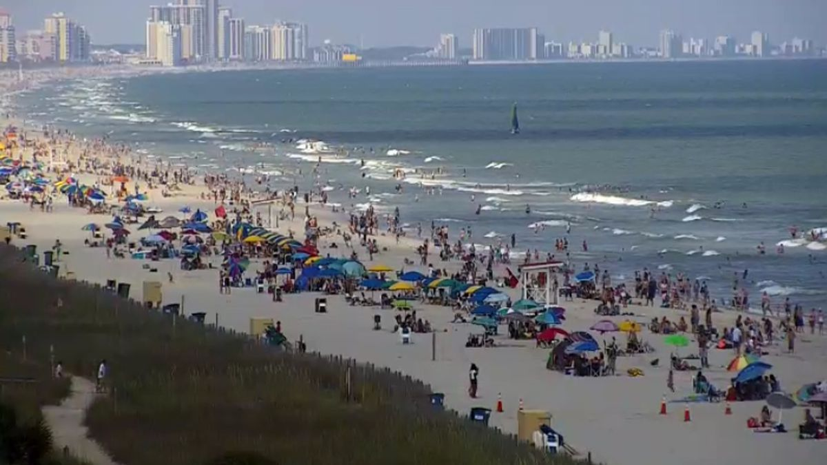 Myrtle Beach on 6-21-20 as cases of COVID-19 linked to the area and West Virginia rise.(WMBF live cam)