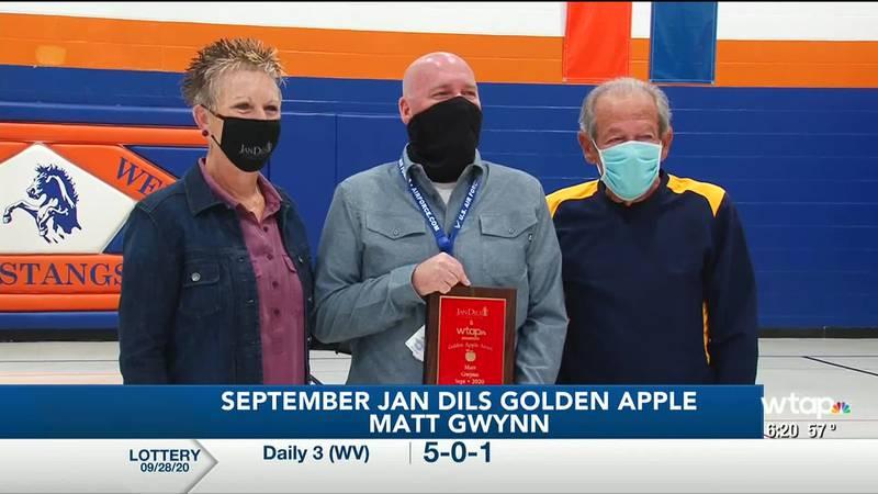 Matt Gwynn from Mineral Wells Elementary is the September 2020 Jan Dils Golden Apple award winner