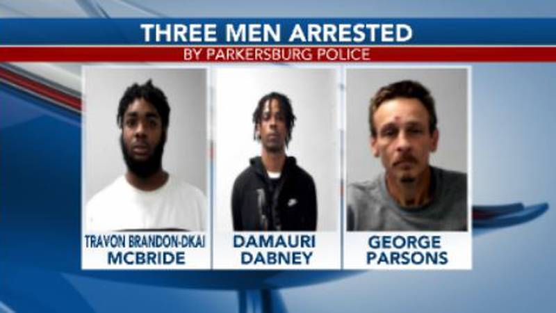 Three men at a hotel are arrested by Parkersburg Police.