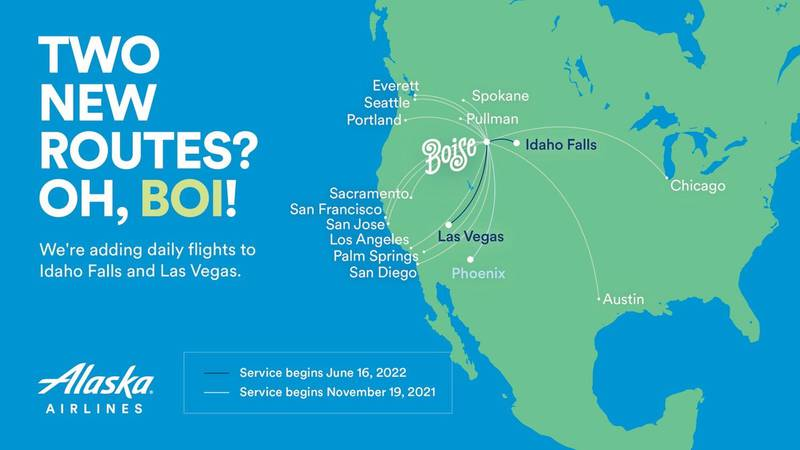 Alaska Airlines will fly daily nonstops from Boise to Idaho Falls and Las Vegas this summer.