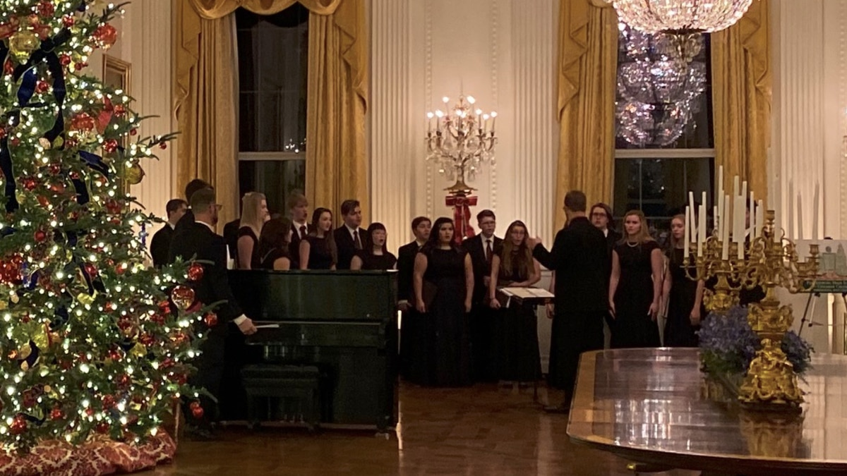 The Parkersburg High School Chamber Choir performed for tourists, officials and friends and family of White House staff on Saturday evening. (Source: Kelley Ray, Parkersburg High School Chamber Choir parent)