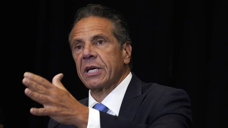 New York Gov. Andrew Cuomo speaks during a news conference at New York's Yankee Stadium,...