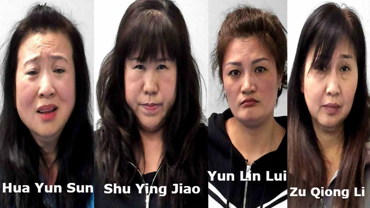 Hua Yun Sun, 55, Shu Ying Jiao, 56, Yun Lin Lui, 43, and Zu Qiong Li, 57, all of Parkersburg, W.Va., were arrested on Feb. 6, 2019 and charged by Parkersburg Police with multiple prostitution-related crimes.