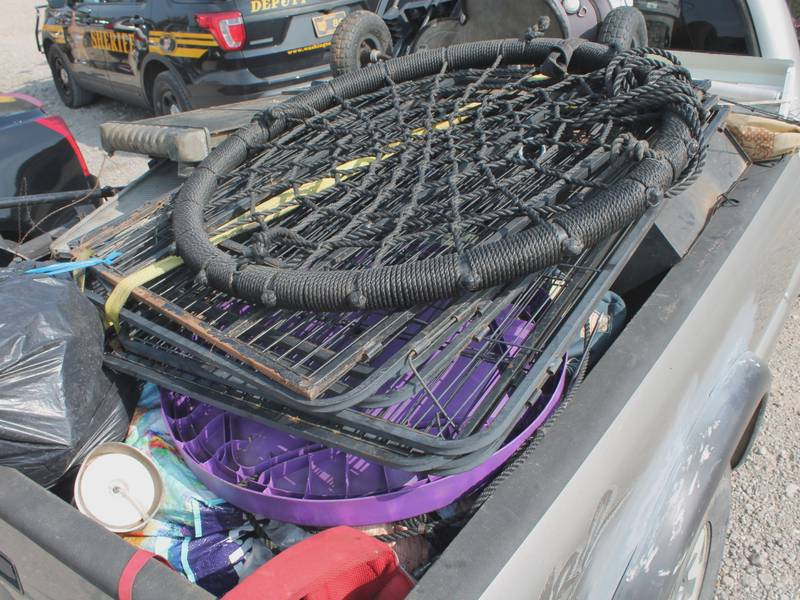 Police found multiple items that were believed to be stolen in a truck.