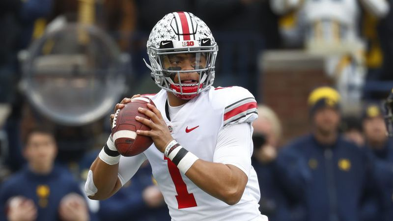 Ohio State quarterback Justin Fields declares for NFL Draft. (AP Photo/Paul Sancya)