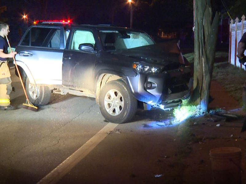 A car damaged a telephone pole in a crash early Monday morning