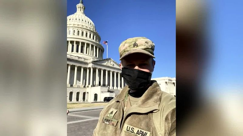 A Virginia educator called to protect the Capitol in the National Guard has continued to teach...