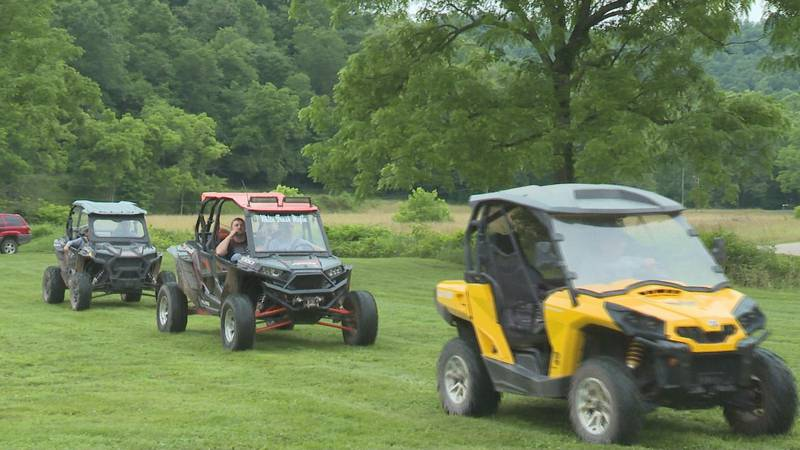 Participants rode their ATV's down a 30 mile trail to raise money for their local fire...