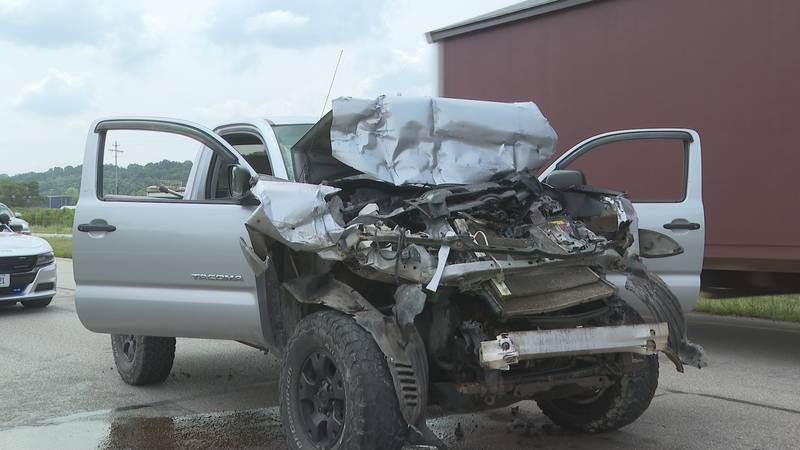 Tractor trailer rear ended by pickup, pickup driver taken to hospital