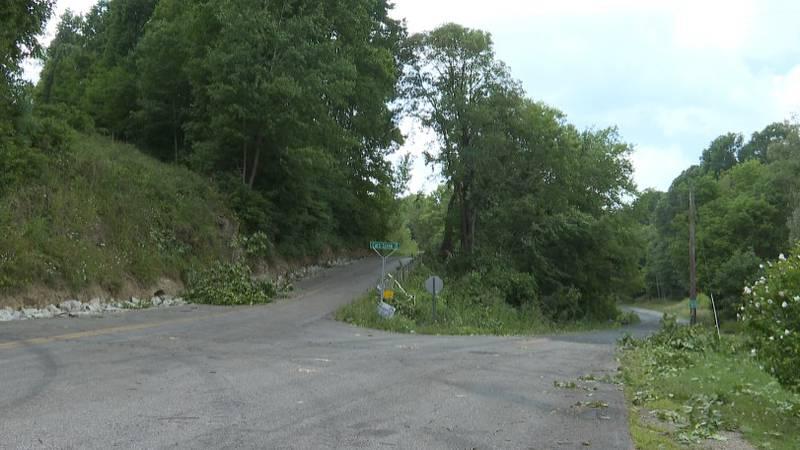 Tree damage from EF0 tornado near Macksburg
