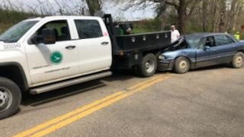 A driver is injured after crashing into an ODOT truck in Meigs County.