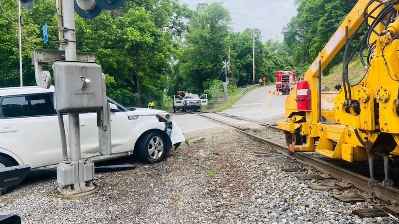 Rail equipment and car collide
