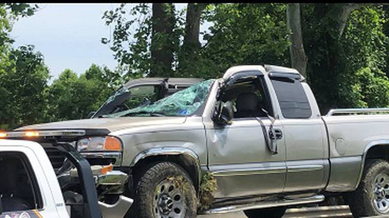 The aftermath of a single vehicle wreck on Route 2 in Wood County Friday morning.