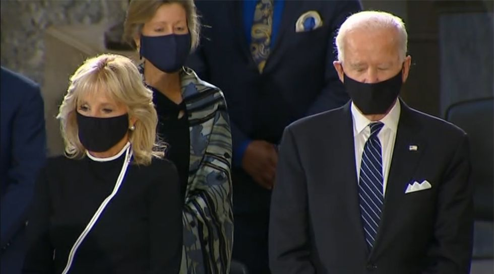 Democratic presidential candidate Joe Biden, right, and Jill Biden are present at the memorial ceremony for Justice Ruth Bader Ginsburg at the U.S. Capitol on Friday.