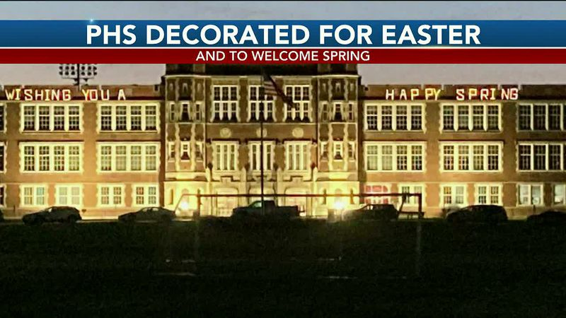 Parkersburg High School is lit up for Easter and to welcome spring.