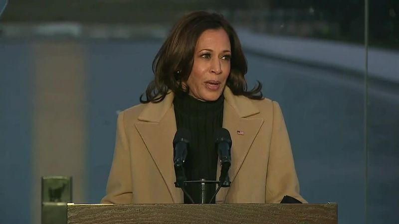 Vice President-elect Kamala Harris pays tribute to those lost to the COVID-19 pandemic during a...