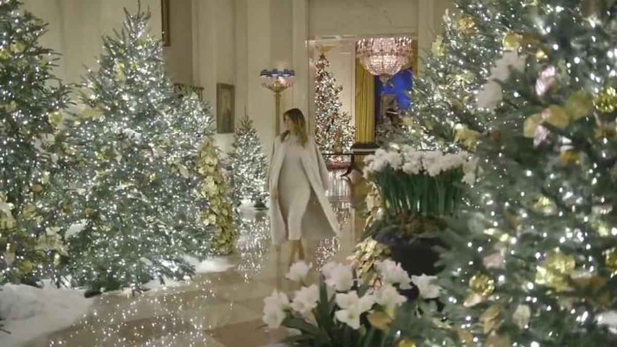 The video shows the first lady walking through the public floor of the White House amid...