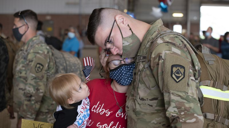 Soldiers were welcomed back by family and friends at various locations throughout the State of...